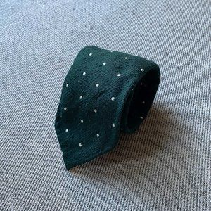 Drake's Green Jumbo Polka Dot Viscose Cotton Tie